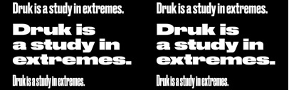 Druk' a display sans' is a study in extremes by @BertonHasebe.