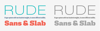 Rude by @DSType_Foundry: a type system with two hundred weights' in seven different widths.