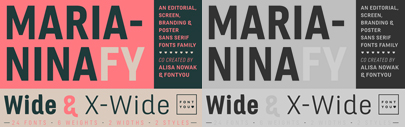 Marianina Extended FY comes with two wider widths' each of which consists of 6 weights and corresponding italics. 50% off till Aug 3.