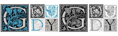 Miranda Roth has meticulously redrawn Goudy Initials. This new digital version features two additional layers to allow for quick colorizing of the central Letter and/or the floriated background.