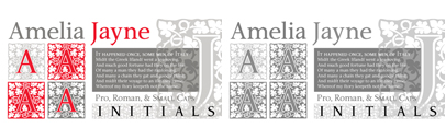 Amelia Jayne is Ted Staunton's updated revision and expansion of his own Amelia decorative cap font.