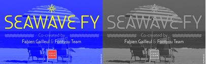 Seawave FY by @Fontyou' a sans serif with wavy shapes and seaworld dingbats