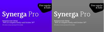 Synerga Pro by Mint Type. Synerga Pro family is 80% off till Oct 30.