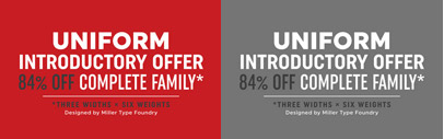 Uniform' a multi-width geometric type family designed around the circle. Uniform Complete Family is 84% off till Nov 15.